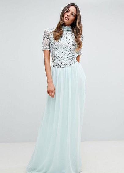 Frock And Frill světle mentolové maxi šaty s vyšívaným topem  02f32b4f125