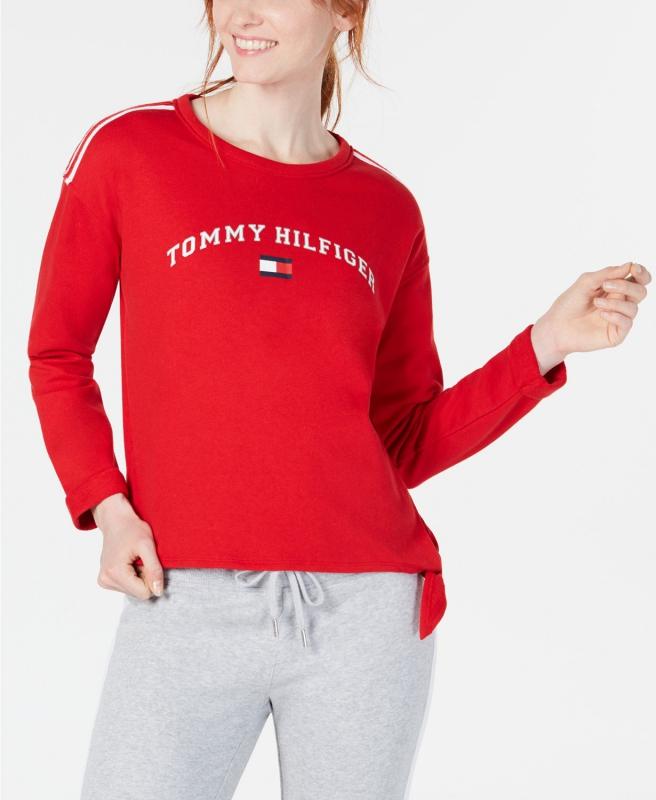 a180267d7 Tommy Hilfiger červená mikina se zavázáním | Tommy Hilfiger - Livien.cz