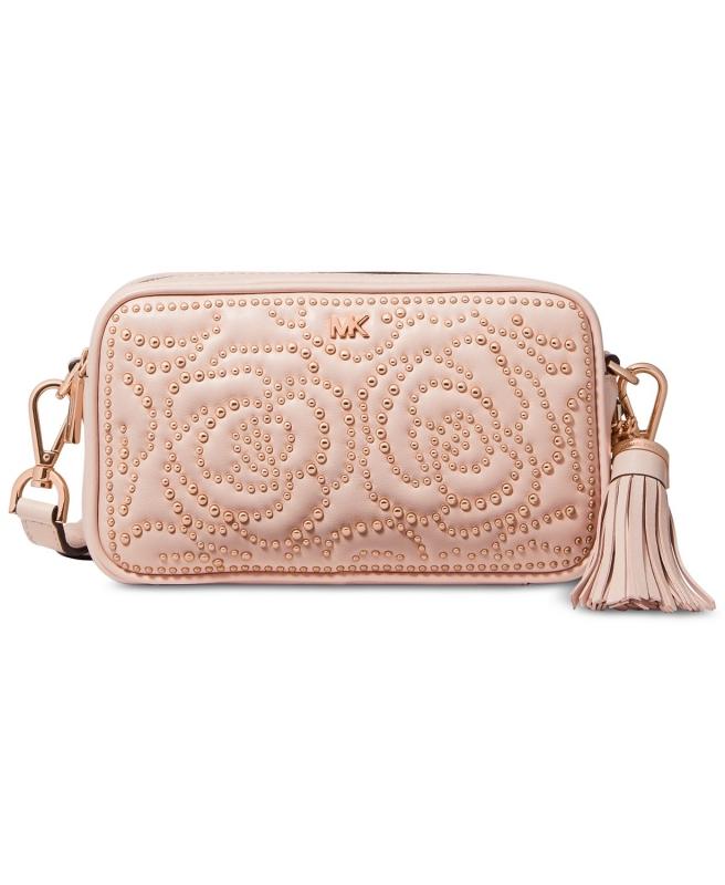 0cda9e6d36 Michael Kors kožená crossbody kabelka quilted stud camera bag soft pink