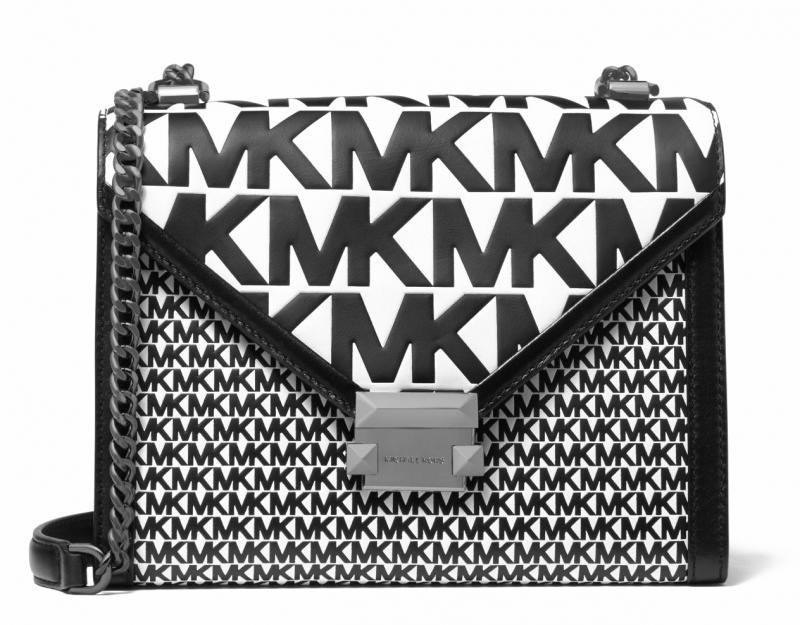 Michael Kors Leather LG EW Crossbody černástříbrná