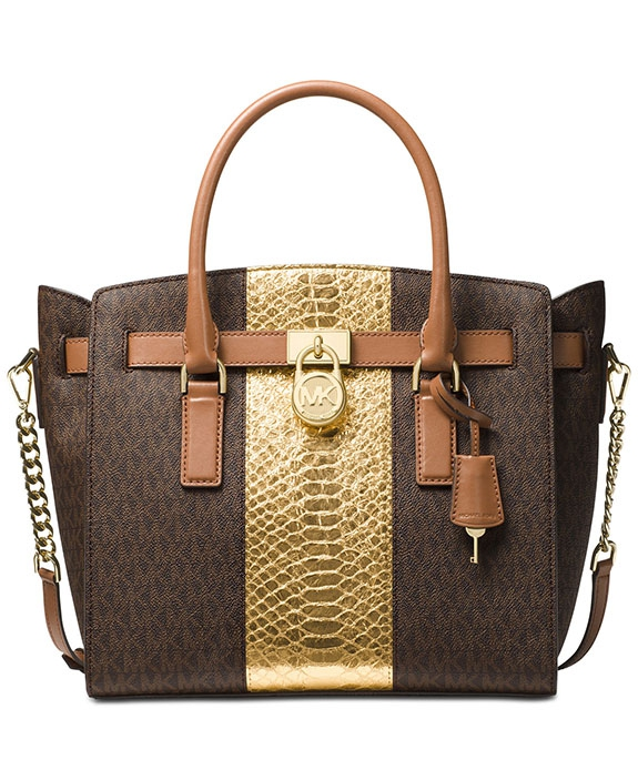74d551b6ea Michael Kors Hamilton large east west satchel brown gold