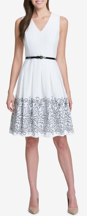 Tommy Hilfiger bílé šaty s černými květy na sukni - Livien.cz ec92141241