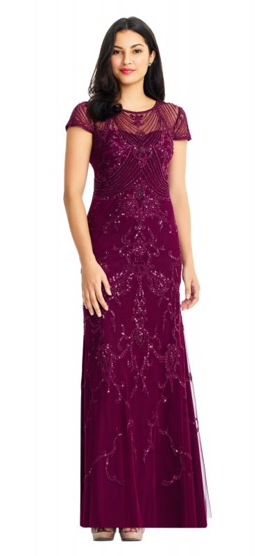 bdcdafff08a Adrianna Papell luxusní společenské dlouhé vínové šaty vyšívané ...