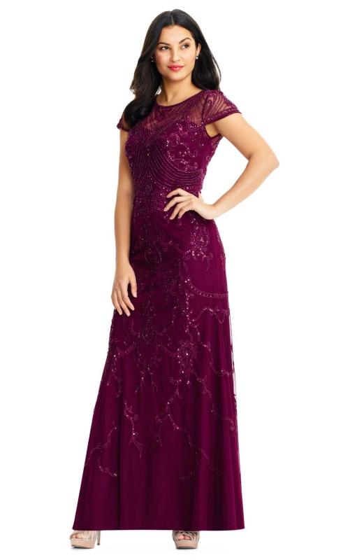 3da57af21b0 Adrianna Papell luxusní společenské dlouhé vínové šaty vyšívané korálky