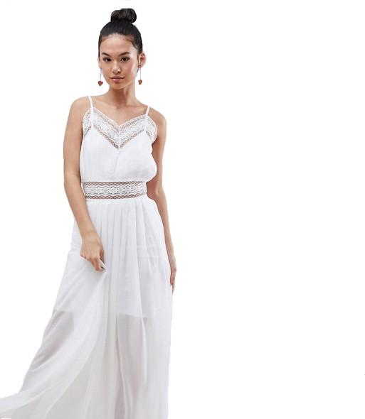 Boohoo letní dlouhé bílé šaty na ramínka - Livien.cz 545a913c1c
