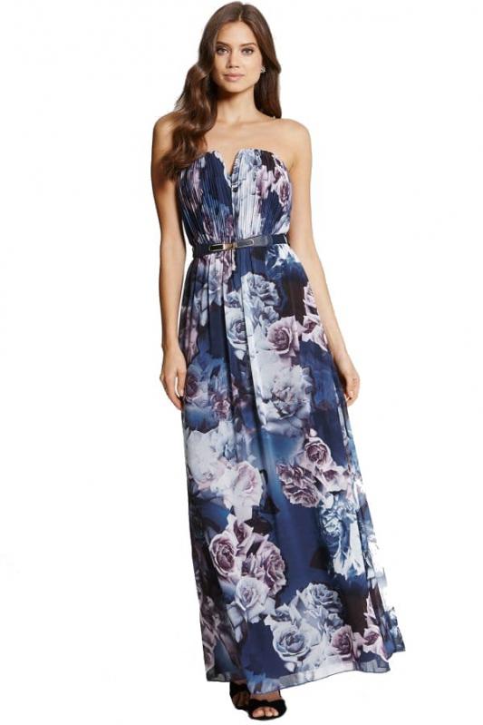 Little Mistress dlouhé tmavě modré květované šaty s opaskem - Livien.cz e436b658f2