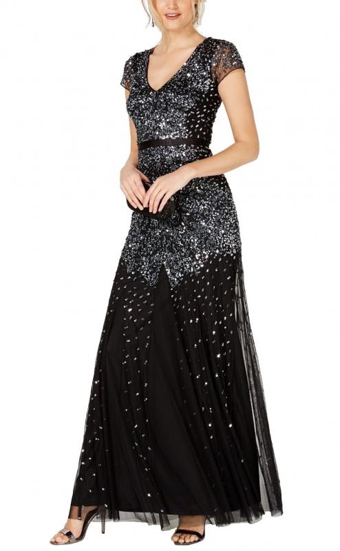 Adrianna Papell luxusní večerní černé šaty poseté kamínky a korálky ... b135c3b149