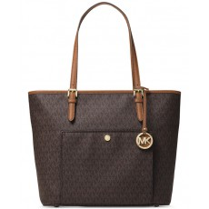 Michael Kors jet set medium signature snap pocket tote brown