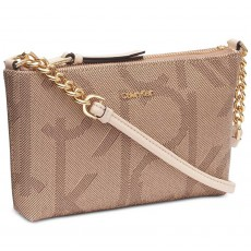 Calvin Klein mini crossbody kabelka Hayden signature light sand