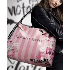 Victoria´s Secret pink striped graffiti look tote