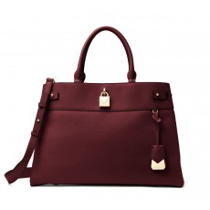 Michael Kors Gramercy large leather satchel oxblood