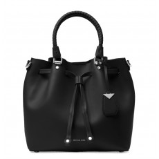 Michael Kors kožená kabelka Blakely bucket medium black/silver