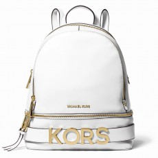Michael Kors Rhea medium embellished leather white