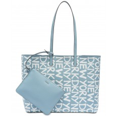 DKNY Brayden logo reversible tote artic/white/silver