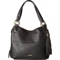 Calvin Klein kabelka Holly large pebble leather hobo black