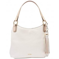 Calvin Klein kabelka Holly large pebble leather hobo white