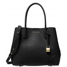 Kožená kabelka Michael Kors Mercer perforated floral black
