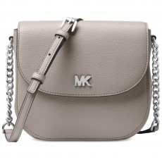Michael Kors Mott leather dome crossbody pearl grey-silver