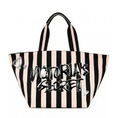 Victoria's Secret Pink striped weekender tote bling