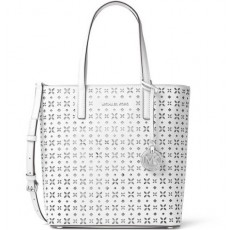 Michael Kors Hayley large perforated leather tote white