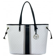 Michael Kors kabelka jet set travel large drawstring center stripe white tote