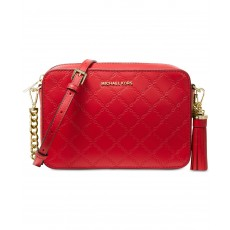 Michael Kors chain embossed leather camera bag red