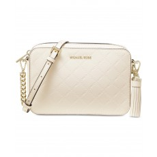 Michael Kors chain embossed leather camera bag cream