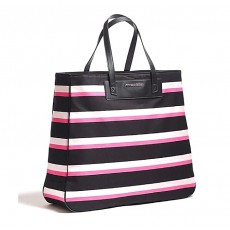 Victoria´s Secret plátěná taška pink black stripe large