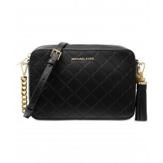 Michael Kors chain embossed leather camera bag black
