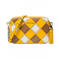 Michael Kors Woven medium leather crossbody yellow multi