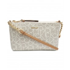Calvin Klein mini crossbody kabelka Hayden signature almond