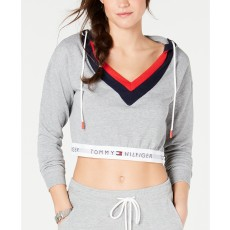 Tommy Hilfiger retro crop top hoodie grey