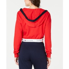 Tommy Hilfiger retro crop top hoodie red