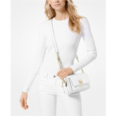 Kabelka Michael Kors Sylvia crossgrain leather double zip crossbody optic white