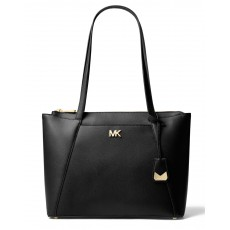 Michael Kors kožená kabelka Maddie medium east west tote black gold