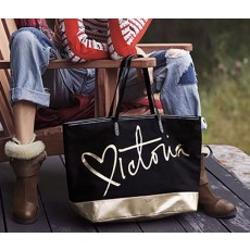 Victoria´s Secret plátěná taška black gold heart large tote
