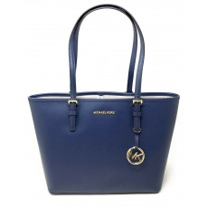 Michael Kors kožená kabelka jet set travel medium navy