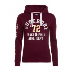 Superdry dámská mikina track and field hood sprinter burgundy