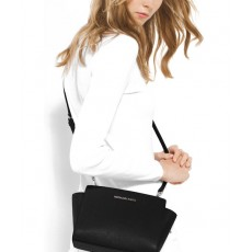Michael Kors Selma medium saffiano leather messenger black/silver