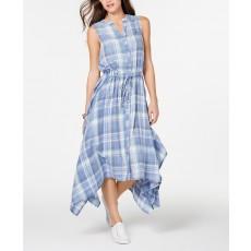 dc555fab45bd Tommy Hilfiger letní bavlněné modré šaty plaid ...