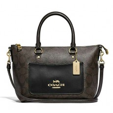 Coach Emma mini pebble leather crossbody F31466 brown black