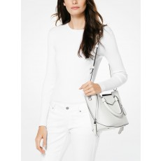 Michael Kors kožená kabelka Blakely satchel optic white