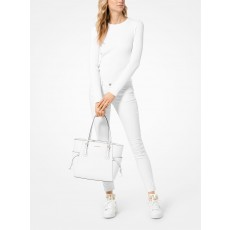 Michael Kors Voyager kabelka crossgrain leather white