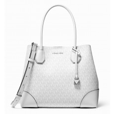 Kabelka Michael Kors Mercer gallery medium leather tote bright white silver