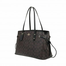 Coach kabelka drawstring signature brown black F57842