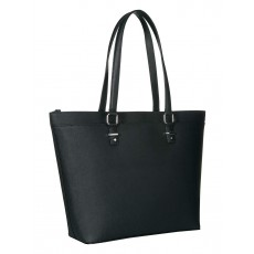Calvin Klein kabelka leather saffiano black silver