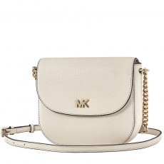 Michael Kors Mott leather dome crossbody cream