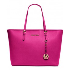 Michael Kors kabelka jet set top zip raspberry/gold