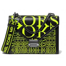 Michael Kors Whitney large newsprint logo leather convertible shoulder bag neon yellow
