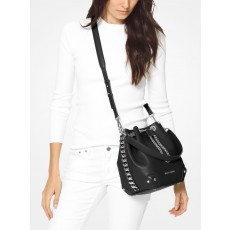 Kožená kabelka Michael Kors Alanis medium bucket pebbled leather black silver